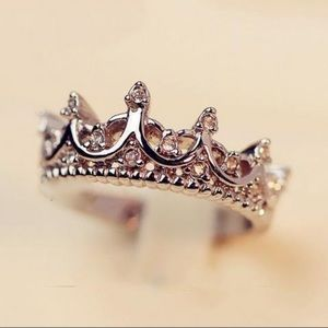 Silver Crown Ring with CZ's